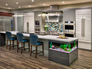 Kitchen with a Fish Tank Below the Counter