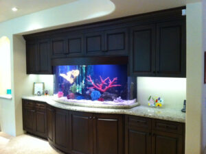 A Fish Tank Between Some Cabinets